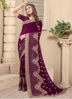 Wine Engagement Silk Designer Saree