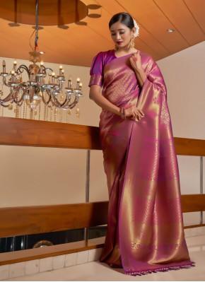 Wine Fancy Raw Silk Designer Traditional Saree