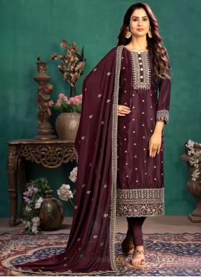 Wine Festival Silk Designer Straight Suit