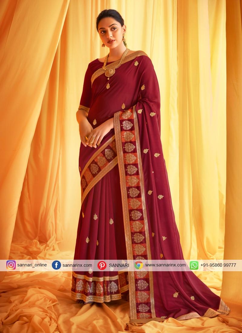 Wine Silk Festival Classic Designer Saree