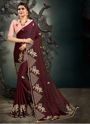 Wine Silk Mehndi Designer Saree