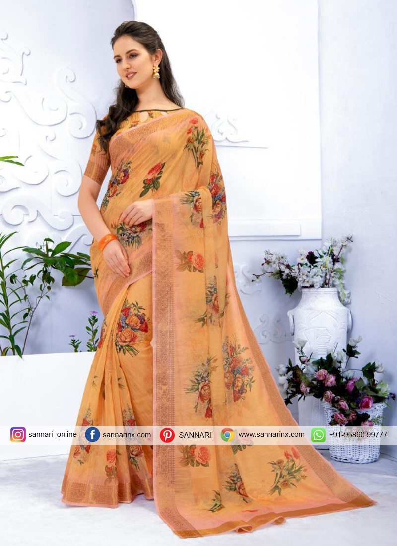 Winsome Abstract Print Multi Colour Printed Saree