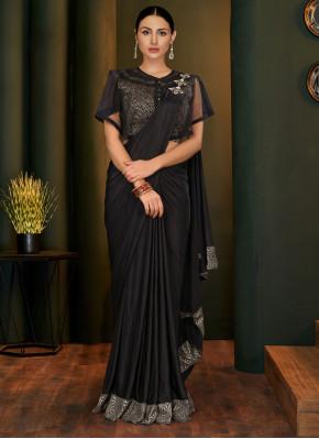 Winsome Black Reception Trendy Saree
