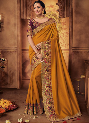 Winsome Embroidered Art Silk Designer Traditional Saree