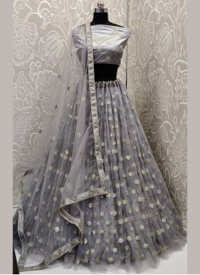 Winsome Embroidered Net Grey A Line Lehenga Choli
