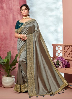 Winsome Fancy Fabric Grey Embroidered Classic Saree