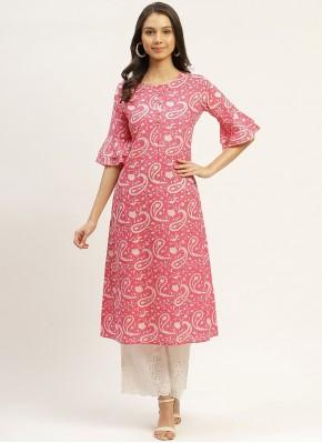 Winsome Pink Print Cotton Party Wear Kurti