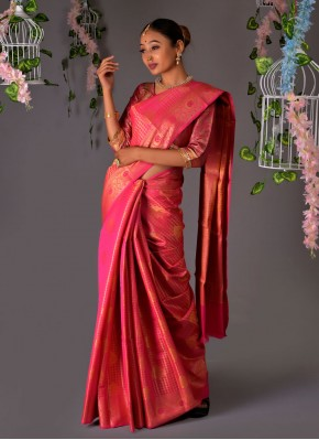 Winsome Pink Silk Traditional Saree