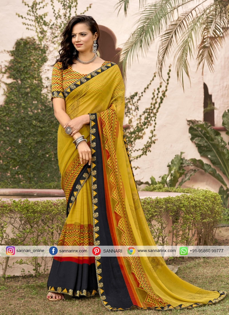 Winsome Printed Faux Georgette Yellow Printed Saree