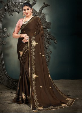 Wonderous Brown Satin Designer Saree
