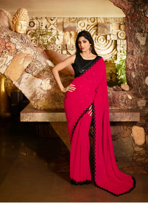 Wonderous Resham Hot Pink Traditional Saree