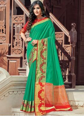 Woven Handloom Cotton Classic Designer Saree in Green