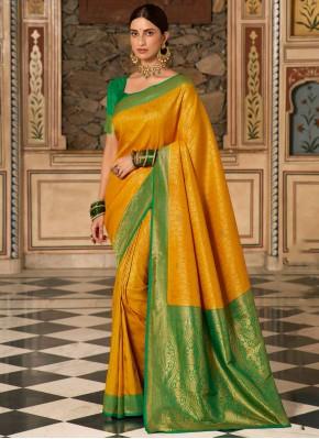 Woven Silk Classic Designer Saree in Yellow