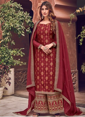 Woven Silk Designer Palazzo Salwar Kameez in Maroon