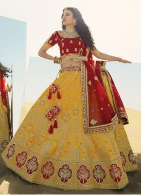Yellow Art Silk Sangeet A Line Lehenga Choli