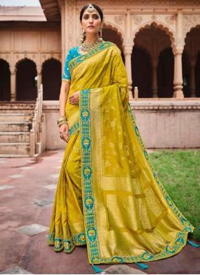 Yellow Banarasi Silk Designer Saree