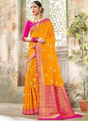 Yellow Banarasi Silk Festival Designer Traditional Saree