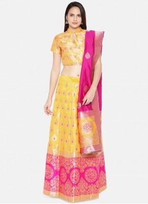 Yellow Banarasi Silk Mehndi Lehenga Choli