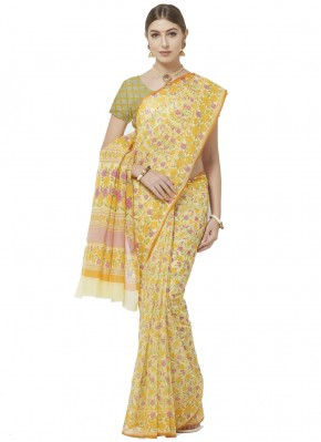 Yellow Casual Blended Cotton Printed Saree