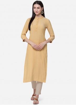 Yellow Casual Cotton Casual Kurti
