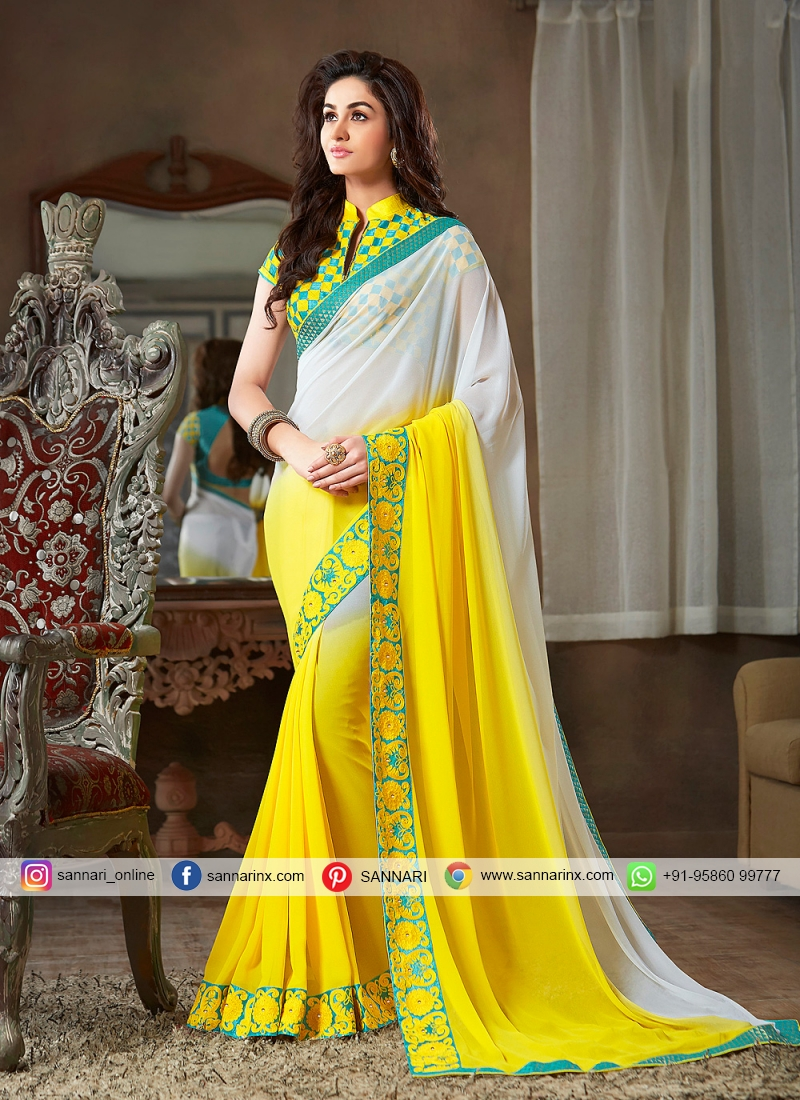 Yellow Ceremonial Faux Georgette Shaded Saree
