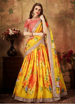 Yellow Ceremonial Organza Trendy A Line Lehenga Choli