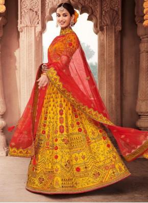Yellow Ceremonial Silk Trendy Lehenga Choli