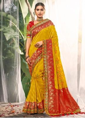 Yellow Color Contemporary Saree