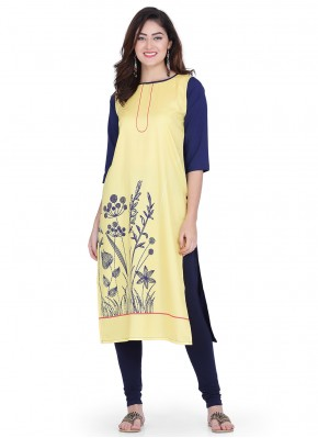 Yellow Color Party Wear Kurti
