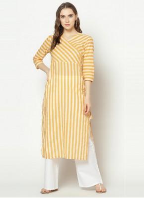 Yellow Cotton Festival Party Wear Kurti