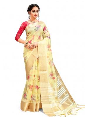 Yellow Digital Print Printed Saree
