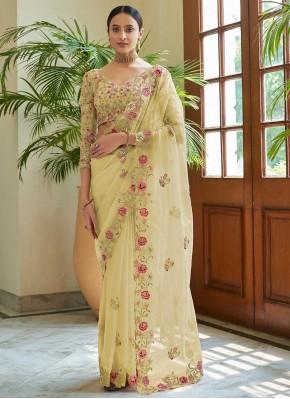 Yellow Dori Work Classic Saree