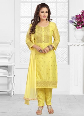 Yellow Embroidered Ceremonial Readymade Suit