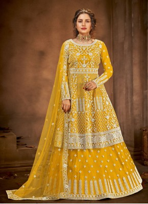 Yellow Embroidered Long Choli Lehenga