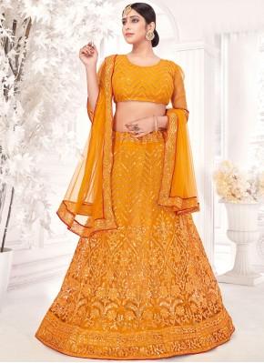 Yellow Embroidered Sangeet A Line Lehenga Choli