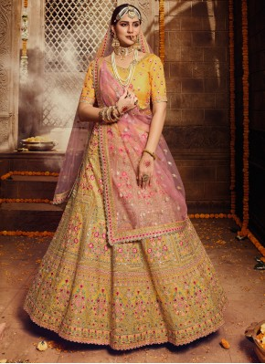 Yellow Engagement Organza Trendy Lehenga Choli