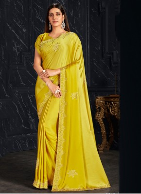 Yellow Fancy Fabric Festival Classic Saree