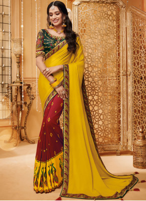 Yellow Fancy Fabric Festival Classic Saree