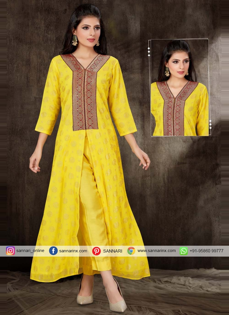 Yellow Fancy Party Wear Kurti