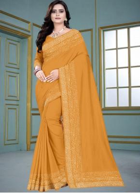 Yellow Fancy Silk Traditional Saree