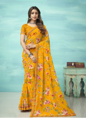 Yellow Faux Georgette Floral Print Casual Saree