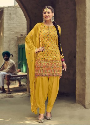Yellow Faux Georgette Patiala Suit
