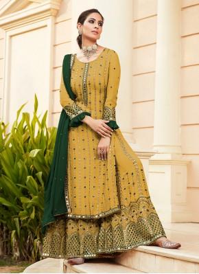 Yellow Faux Georgette Sangeet Designer Palazzo Salwar Suit