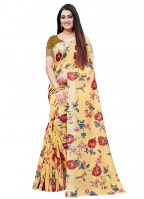 Yellow Festival Cotton Printed Saree
