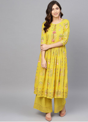 Yellow Festival Party Wear Kurti