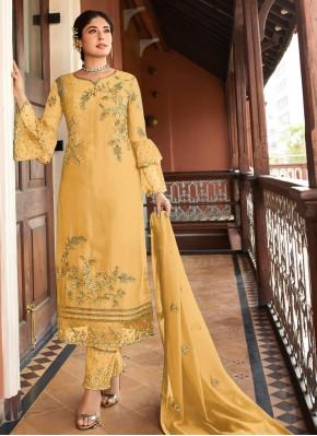Yellow Georgette Designer Salwar Kameez