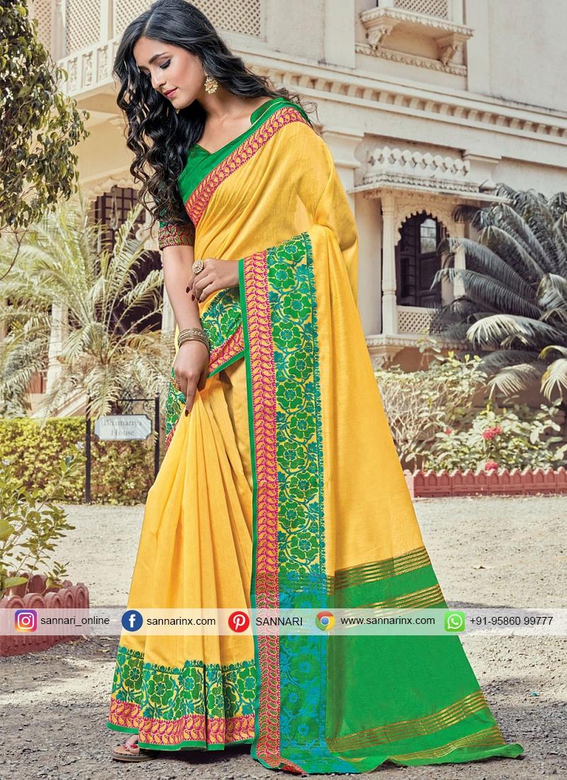 Yellow Handloom Cotton Classic Designer Saree