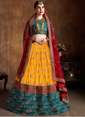 Yellow Lace Bridal Lehenga Choli