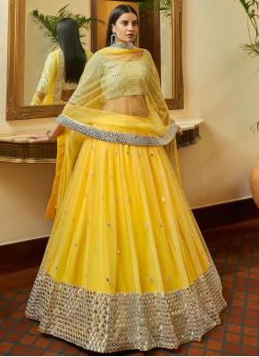 Yellow Net Wedding A Line Lehenga Choli
