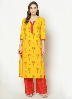 Yellow Party Party Wear Kurti